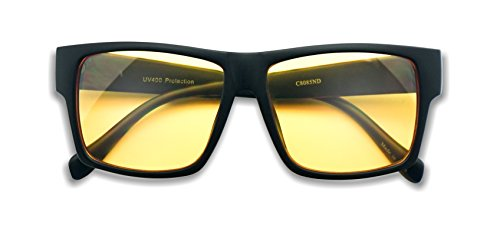 SunglassUP - Oversized 80's Vintage Style Yellow Night Driving Lens Round and Square Sunglasses (Matte Black (Square), - 80 Sunglasses S Style