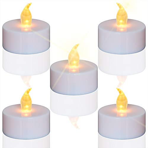 Tea Lights, 24pcs Flameless LED Tea Lights Candles, Flickering Warm Yellow, 100 Hours Battery-Powered Tea Light, Ideal Party, Wedding, Birthday, Gifts Home -