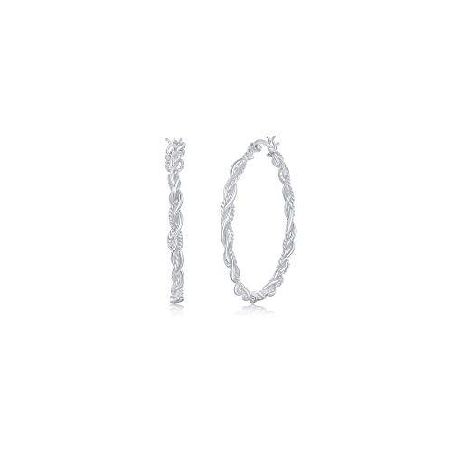 (Unique Links 925 Sterling Silver High Polished Lightweight - Designed Twist Snap Down Earrings - Choose a Diameter 18mm,20mm,30mm,40mm (20mm Diameter))
