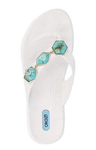 Winston Flip Flop Sandaal Schoenen Kleur Zout Met Turquoise Streng Van Okab