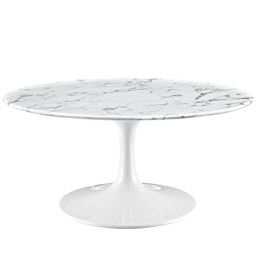 Modern Urban Contemporary Marble Coffee Table, White Steel (Italian Marble Coffee Table compare prices)
