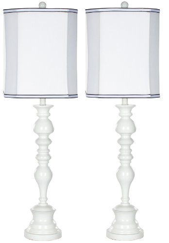 Safavieh Lighting Collection Polly White Candlestick 36-inch Table Lamp (Set of 2)