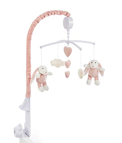 - Baby Brielle Girl Bunny Musical Soother Crib and Bassinet Nursery Room Mobile Set