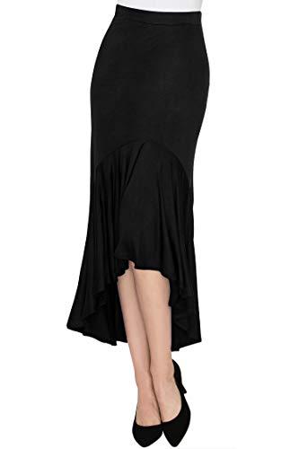 Made By Johnny WB1132 Womens Asymmetrical High Low Ruffle Hem Skirt XL Black