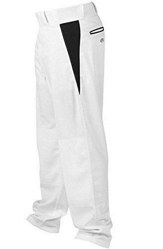 Rawlings Men's Relaxed Fit V-Notch Insert Baseball Pant, White with Black Insert, Small