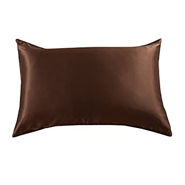 Orose 22mm luxury mulberry silk pillowcase, good for hair and facial beauty, prevent from wrinkle and allergy, 100% silk on both sides, gift box,1pc (Standard, chocolate)