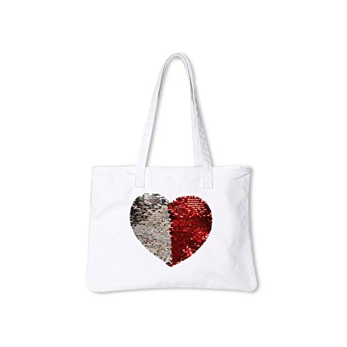 Canvas Tote Mermaid Reversible Sequin Heart {Red & Silver} Funky Monkey Fashion - Red Heart Handbag