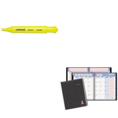 KITAAG76PN0805UNV08861 - Value Kit - At-a-Glance QuickNotes Special Edition Recycled Monthly Planner (AAG76PN0805) and Universal Desk Highlighter (UNV08861)