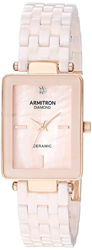 (Armitron Women's 75/5613BMRG Diamond-Accented Rose Gold-Tone and Blush Pink Ceramic Bracelet Watch)