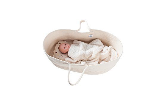 ICEBLUE HD Natural Beige Spacious Cotton Rope Moses Basket Baby Cradle Bassinet Nursery Storage Basket Toy Basket Baby Shower Gift with Long Portable Handles