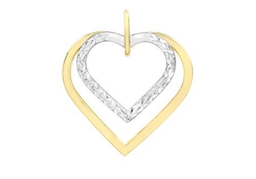 9ct or 2couleurs Coupe Diamant Double Coeur Pendentif