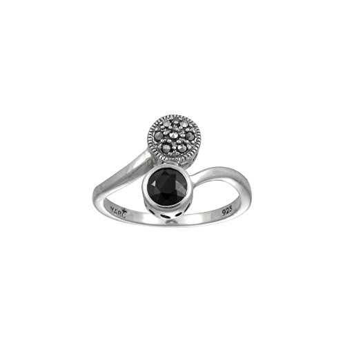 Aura by TJM 925 Sterling Silver 0.64 cttw Checkerboard-cut Black Onyx with 0.05 cttw Pyramid-cut Marcasite Ring size 6 - Facet Black Onyx