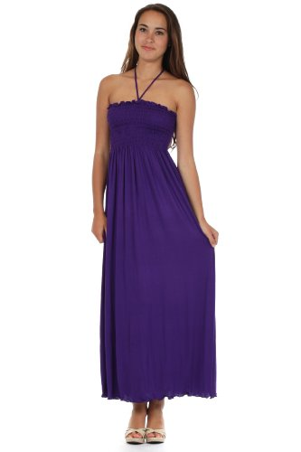 Bodice Halter Dress - Sakkas 5026 Comfortable Jersey Feel Solid Color Smocked Bodice String Halter Maxi / Long Dress - Purple / Medium