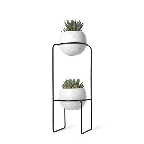Umbra Nesta Tiered Livingroom, Dining Room, White Speckle Finish, Planter for Succulent Plants