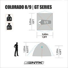 NTK-Colorado-GT-8-to-9-Person-10-by-12-Foot-Outdoor-Dome-Family-Camping-Tent-100-Waterproof-2500mm-Easy-Assembly-Durable-Fabric-Full-Coverage-Rainfly-Micro-Mosquito-Mesh-for-Maximum-Comfort