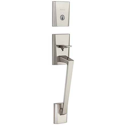 Kwikset Camino 98180-009 Single Cylinder Low Profile Deadbolt Exterior Only Handle Featuring SmartKey In Satin Nickel