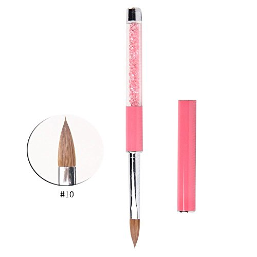 (BQAN 1Pc Acrylic Nail Art Brush Pink Rhinestone Handle Konlinsky Sable Hair Nail Tool #10)