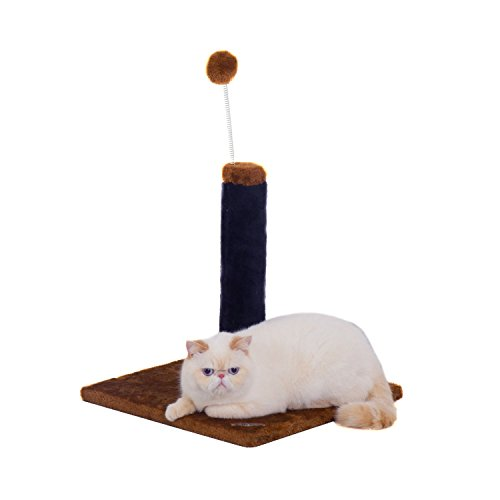 Fluffy Paws Cat Scratching Post, Durable Sisal Wrapped, Ultimate Cat Kitten Scratcher with Spring Resistance Play Ball Cats Toy, Keep Claws Active & Protect Your Furniture [Height 25''] Brown by Fluffy Paws