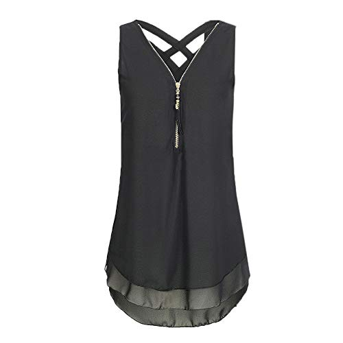 Women's Tops Myoumobi_ Women's Sleeveless Chiffon Tank Top Double Layers Casual Blouse
