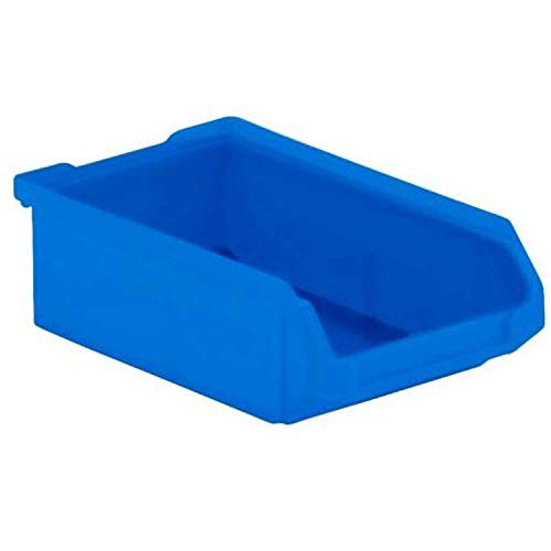 (SSI Schaefer LF Hopper Front Plastic Stacking Bin, 4 x 6 x 2, Blue, Lot of 40)