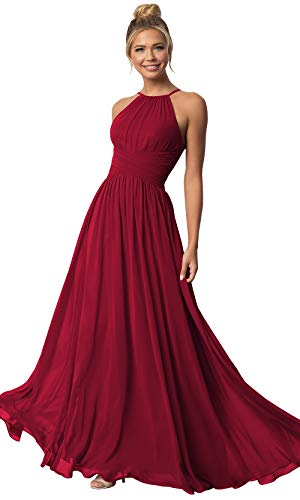 Women's Sleeveless A Line Chiffon Long Bridesmaid Dress Halter Prom Dresses Ruched Bodice Burgundy Size 12