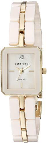 Anne Klein Women's AK/3304LPGB Diamond-Accented Gold-Tone and Light Pink Ceramic Bracelet Watch ()