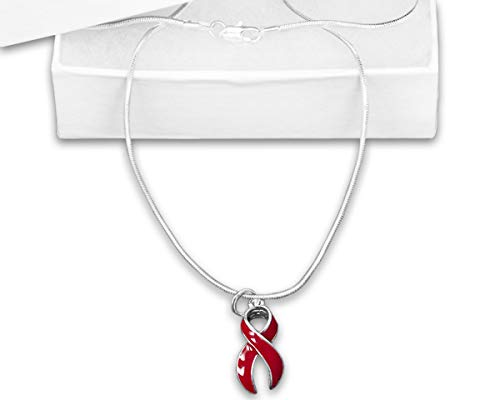 (Heart Awareness Large Red Ribbon Necklace in a Gift Box (1 Necklace -)