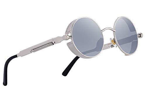ac8de5631e22 MERRY S Gothic Steampunk Sunglasses for Women Men Round Lens Metal Frame  S567(Silver Mirror