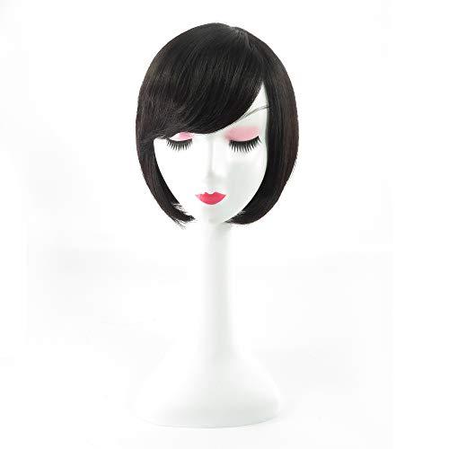 - Tanya Bob Style Wig Real Human Straight Short Hair with Inclined Bangs for Women (Natural Black)
