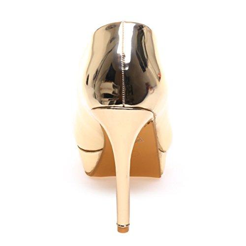 Zapatos De Material Dorado Vestir Modeuse Sintético La Mujer qBw57En
