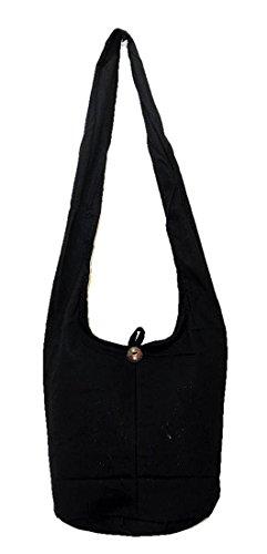 Thai Hippie Hobo Sling Crossbody Shoulder Bag Purse Handmade Zip Plain Black Cotton Gypsy Boho Messenger Medium M721