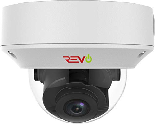 Revo America Ultra HD 4K IK10 Vandal Resistant IP Dome Surveillance Camera (Motorized Varifocal Lens) - 175' Night Vision, IP67 Weather Resistant, 3DNR, ONVIF Compatible