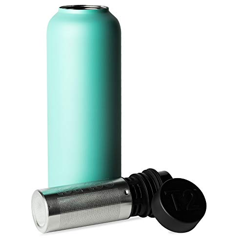 T2 Tea Flask, Stainless Steel Leak-proof Thermal Insulated Flask with Removable Tea Infuser, Aqua, 500ml