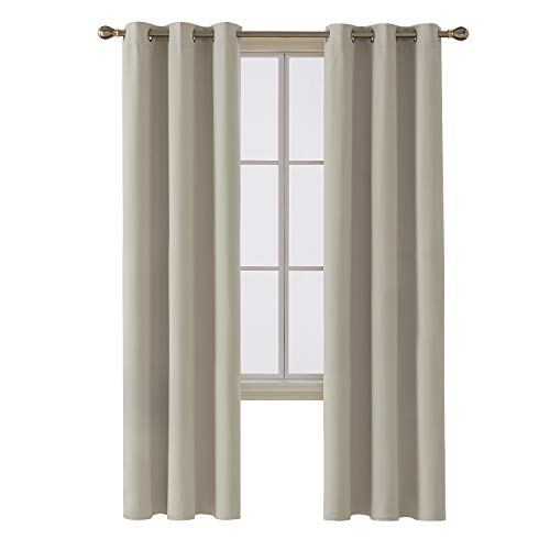 Deconovo Room Darkening Thermal Insulated Blackout Grommet Window Curtain Panel for Living Room, Light Beige, 42x95 Inch, 1 Panel