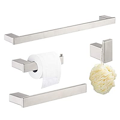 "Klabb D68 4-Piece ss304 Bathroom Hardware Accessory Set with 24"" Towel Bar Nickle Brushed"