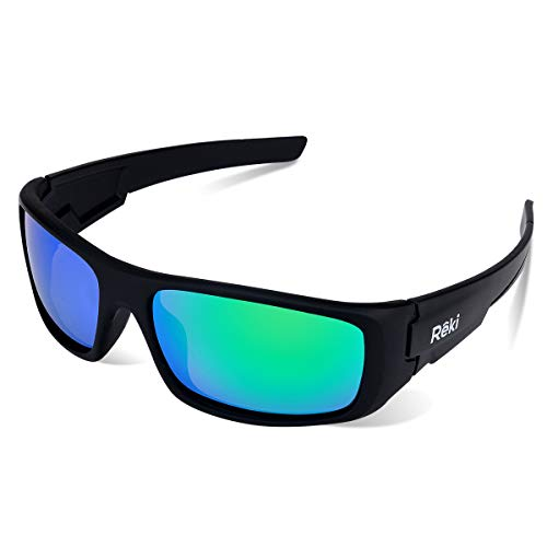 BEST Premium Unisex Polarized RE327 Unbreakable Frame Sports Sunglasses for Running Baseball Cycling Fishing Volleyball Driving Skiing Golf Traveling by Reki (Black with Green Lens)