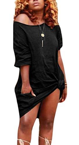 Knot Twist Front One Mini Womens Black Short Shoulder Jaycargogo Sleeve Dress fYXFaYx