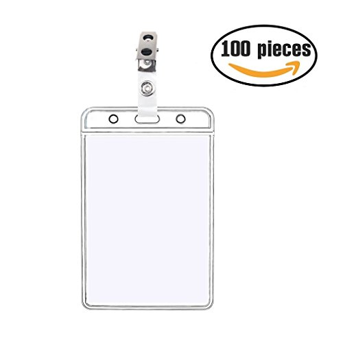 100 Pack 4x3 Vertical ID Card Badge Holders & Metal Id Badge Holder Clips,Name Tags Hole Punched Zipper Waterproof Resealable Clear Plastic Labels Credit Card Holder