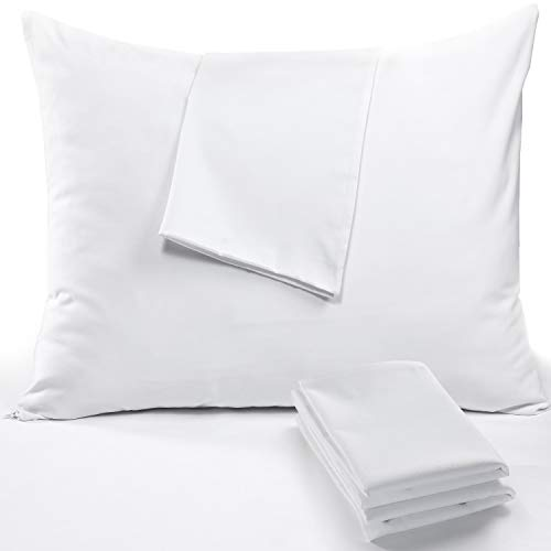 Niagara Sleep Solution Pillow Protectors Standard Lab Certified Ultra Fresh 4 Pack 20x26 inches 100% Cotton White Non Crinkle Quiet Breathable Zipper Covers Cases Set