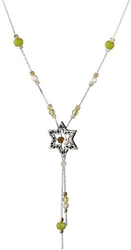 Shimmers Necklace:Ornate Star of David - Pearl, Jade and Aventurin Beads, by Neta ()