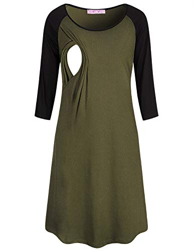 (JOYMOM Nightdress Cotton,Womens 3 Quarter Sleeve Scoop Neck Contrast Color Nursing Nightgowns Maternity Lightweight Baggy Relaxed Fit Sleepshirt Fall Breastfeeding Dresses Army Green)