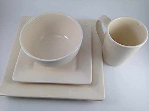 4 Piece, Dinnerware Set by Tabletops Gallery, Handcrafted Misto Series, Linen Square