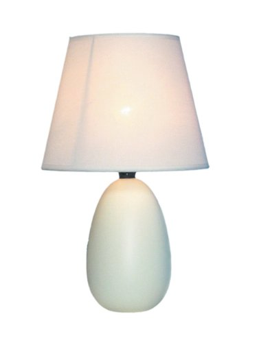 Simple Designs Home LT2009-OFF Mini Oval Egg Ceramic Table Lamp, 5.51