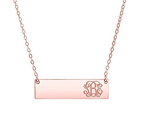 25 Sterling Silver Petite Monogram Bar Charm Necklace (Rose Gold) ()