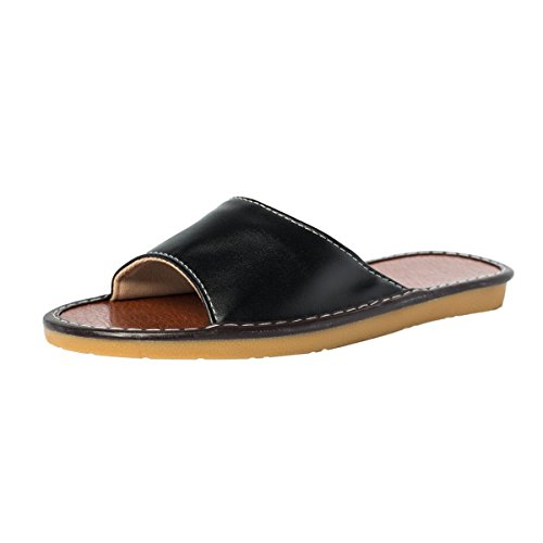 Haisum Men's Comfortable Leather Slippers Indoor Non-Slip House Shoes Slip On Bedroom Slippers Black(8807)