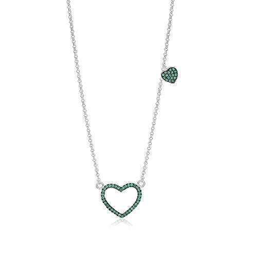 Girls Sterling Silver 925 Green Heart Necklace Cubic Zirconia Black Rhodium Plated Pendant With 15