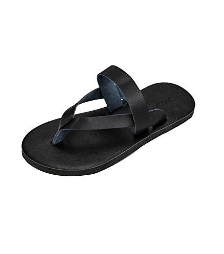 Sentao Unisex Chanclas Cuero de la PU Zapatos Playa Sandalias Flip Flop Negro