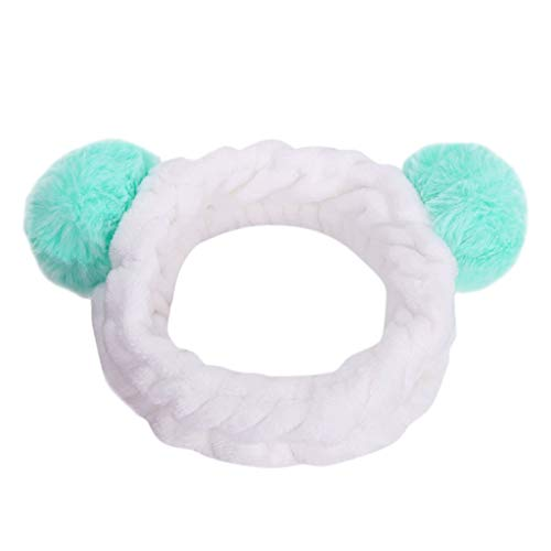 iNoDoZ Women Lovely Fluffy Elastic Hair Band Band Panda Bear Cute Head Hair Band Headwear Light Blue
