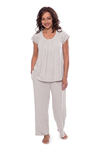 Texere Women's Pajamas in Bamboo Viscose (Bamboo Bliss, Heather Platinum, XL)