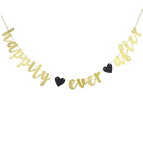Happily Ever After Banner - Glitter Gold Wedding Hung Bunting Sign for Engagement, Bridal Shower Party Photo Props